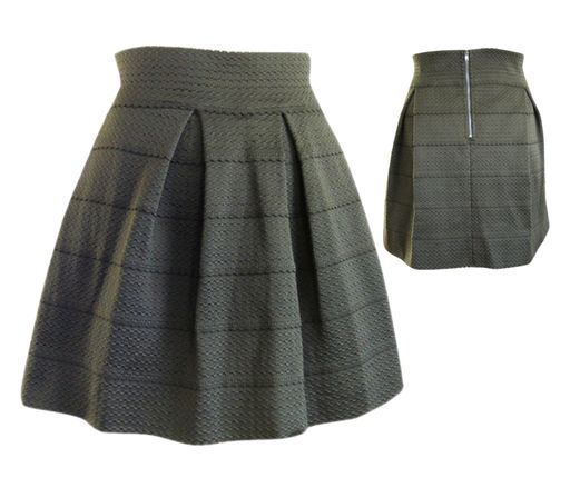 Stretch Panel Flared Skirt in Olive, $34 #shoppitaya