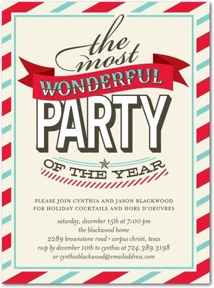 Flat Holiday Party Invitations Charming Carol - Front : Linen