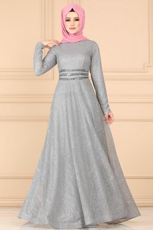 Modaselvim Abiye Beli Payetli Simli Abiye 605l263 Gumus Soiree Dress Dresses Abaya Dress