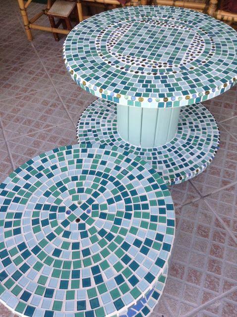 Reciclar Reutilizar Y Reducir Mesas De Bobinas De Cable Acabadas Con Mosaicos Reciclar Para Decorar Carreteles De Madera Tablas De Carrete