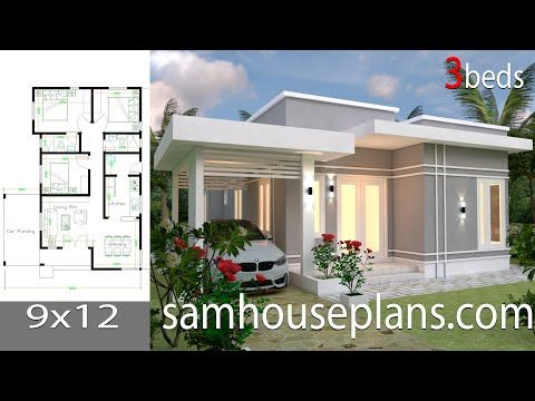 House Plans 9x12 With 3 Bedroomsthe House Has Car Parking And Garden Living Room Dining Room Kitchen 3 Bedro House Plans Small House Design Plans House Roof