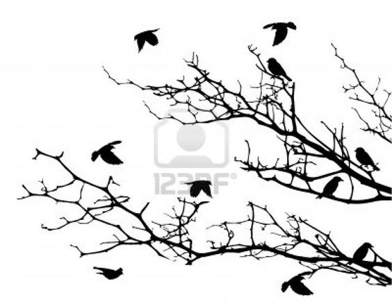 Tree silhouette with bird flying  Stock Photo