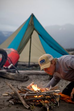 Nothing is better than a tent, fire and good fishing with my husband