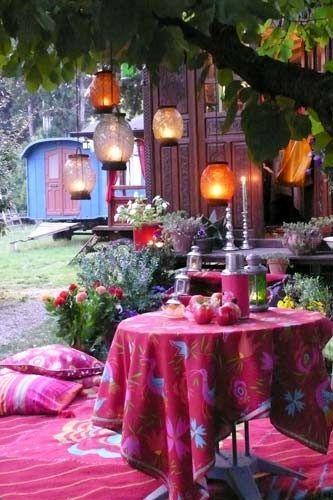 bohemian hideaway for backyard entertaining