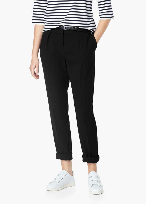 Pantalon droit avec ceinture -  Femme | MANGO