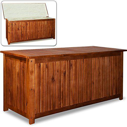 Auflagenbox Akazienholz Holztruhe Kissenbox 120cm - Gartenbox Gartentruhe
