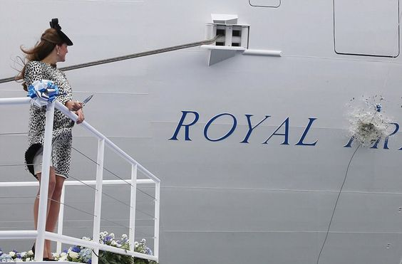The Duchess of Cambridge looks on as the vast Nebuchednezzar of champagne smashes into the hull of the Royal Princess