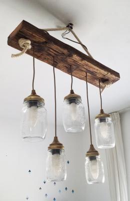 Lámpara Con Frascos De Cristal Y Madera Recuperada Resultado Lampara Colgante De Madera Luces De Madera Lamparas De Techo Rusticas