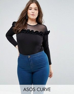 ASOS CURVE Body with Long Sleeve Mesh Insert & Ruffle