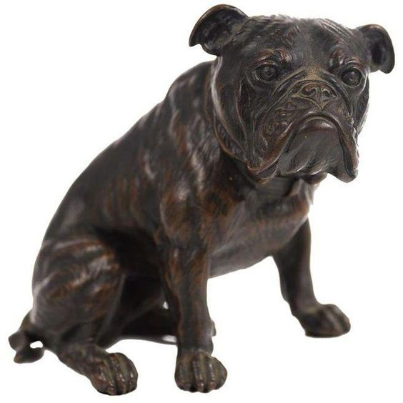 Antique Austrian Bronze Bull Dog Figurine (6 445 BGN) ❤ liked on Polyvore featuring home, home decor, figurines, puppy figurines, dog figurines, bronze home decor, bronze figurines and dog home decor