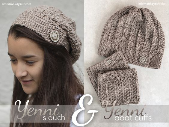Crochet Hat Pattern With Cuff : Boot Cuffs and Matching Hat Free #Crochet Patterns from ...