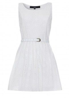 Broderie Anglaise Belted Dress