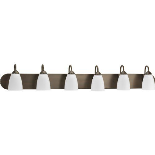 Progress Lighting P2714-20 Gather Collection 6-Light Vanity Fixture, Antique Bronze by Progress Lighting. $136.80. Casual with a contemporary flair, Gather possesses a smart simplicity to complement today's home. Etched glass shades add distinction and provide pleasing illumination to your room. Coordinating fixtures from this collection let you decorate an entire home with confidence and style.