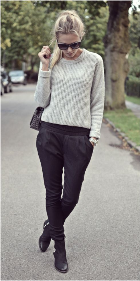 Dress down tailored trousers with a casual sweater. #NYFW