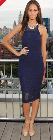 Joan Smalls in Alexander Wang dress, Gucci shoes, David Yurman jewelry --@Vogue