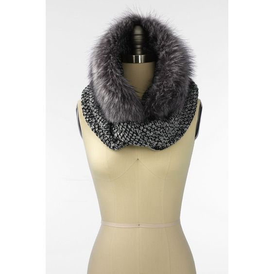 Lands' End  Women's Fur & Knit Infinity Scarf ($64) ❤ liked on Polyvore featuring accessories, scarves, fur infinity scarf, circle scarf, knit shawl, knit scarves and infinity scarf: