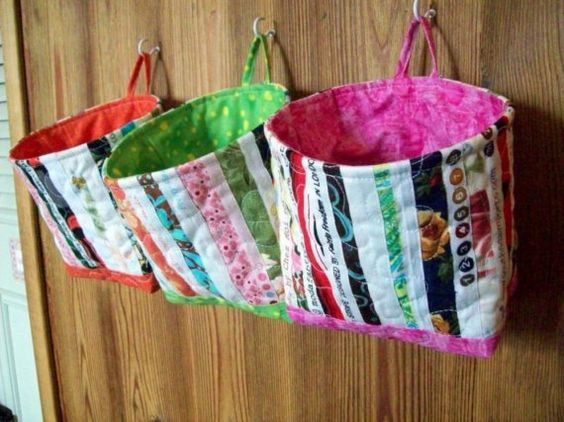 Selvage Fabric Quilted Fabric Bucket with Pink by Pamelaquilts, $20.00