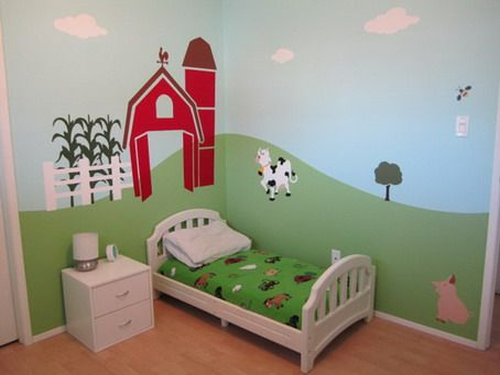 cute and beautiful animals farm wall murals stickers in kids bedroom design ideas