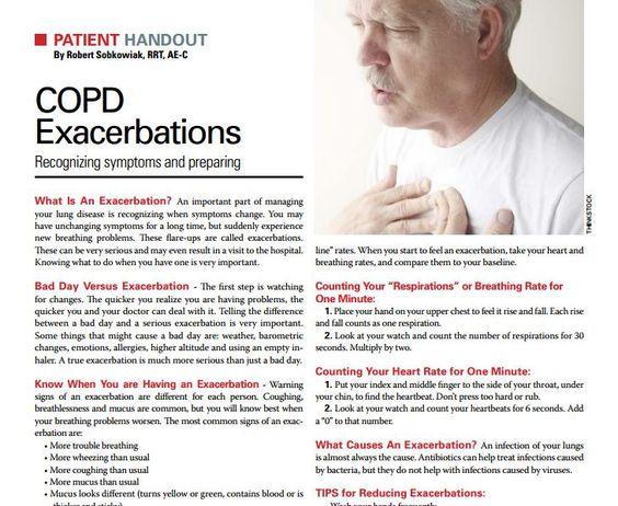 Patient Handout Avoiding Copd Exacerbations Respiratory