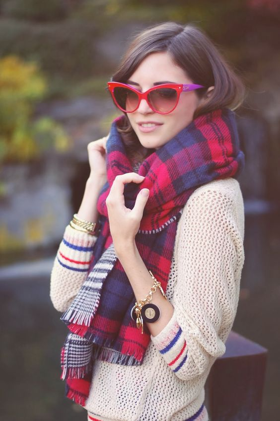 Emilee Anne wearing Isabel Marant sweater, Zara scarf, Dior sunglasses and Marc by Marc Jacobs charm bracelet