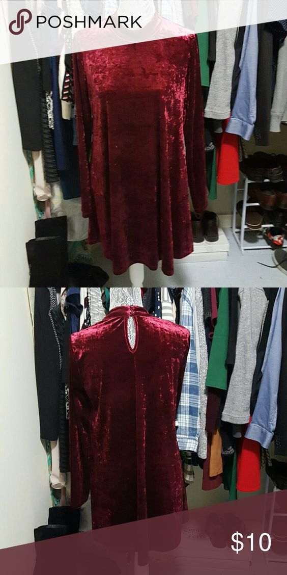 XMAS Red Stretch Velvet Dress (Long Sleeve) Stretchy and comfy crushed red velvet dress with long sleeves. Right above knee length, not too short. Makes an amazing xmas dress. Only worn once. Perfect condition. Size L. Forever 21 Dresses Mini