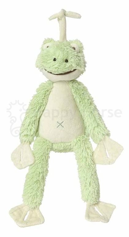 Spieluhr - Frosch Frazier  - Maße: 34 cm  - Schonwäsche 30 °C  - Waschbar mit Spieluhr  - Melodie: Over the Rainbow