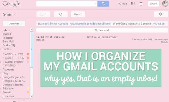How I Organize My Gmail Accounts to Help Me Save Time via AileenBarker.com