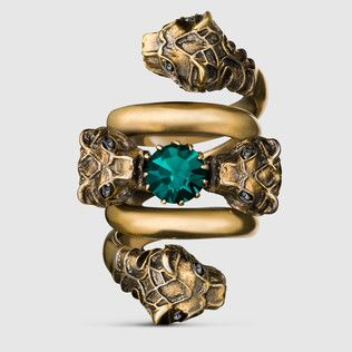 Double wrap ring with tiger heads: