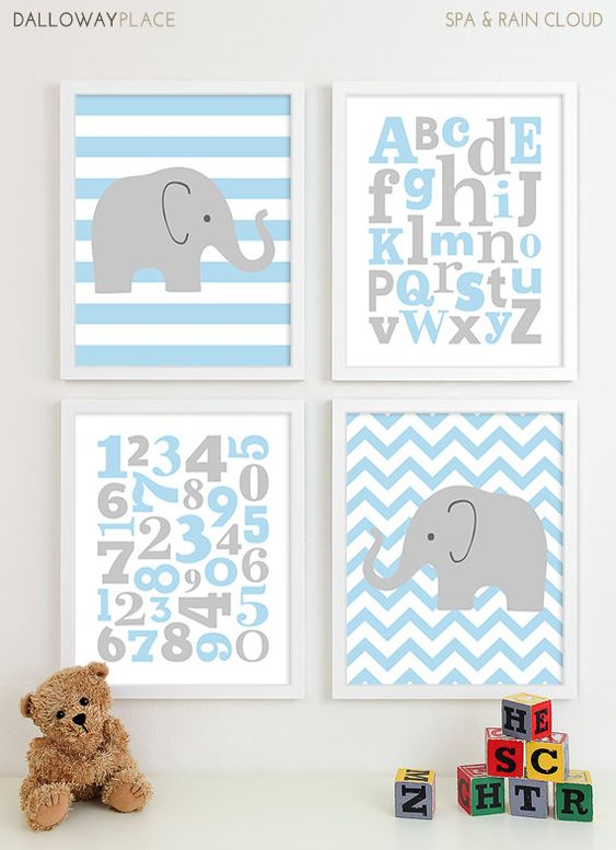 Alphabet Art Print ABC Numbers Art, Baby Boy Nursery Art Boys Nursery Prints, Baby Boy Art Chevron Elephant Nursery Art - Four 11x14