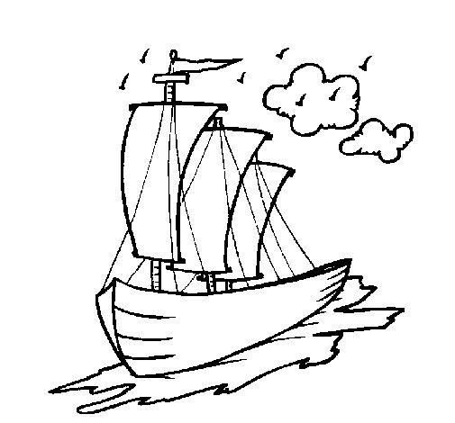 Dibujo de Barco velero para Colorear y Pintar en Línea.