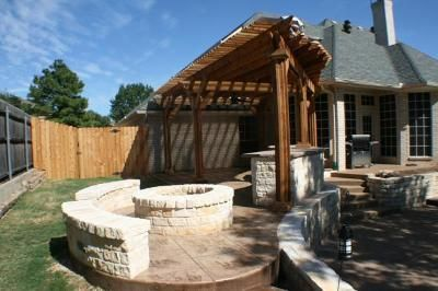 "Pergola Patio and Fire Pit design ""after"" picture - Outdoor Fireplaces and Firepits Photo Gallery - Archadeck of Fort Worth"