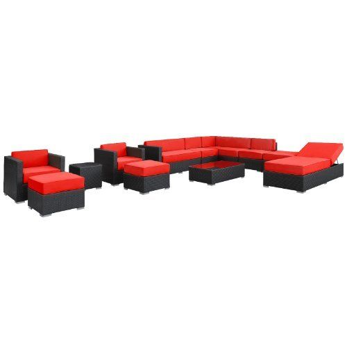 East End Imports Fusion Outdoor Rattan 12 Piece Set in Espresso with Red Cushions by East End Imports. $6901.14. • All Weather Synthetic Rattan Weave • Powder Coated Aluminum Frame • Water & UV Resistant • Machine Washable Cushion Covers • Easy To Clean Tempered Glass Top • Ships Pre-Assembled • Item Ships in 2 - 3 Weeks. Harmonious positioning lends grace to every gathering with this sprawling outdoor sectional set. Commingle as participants con...