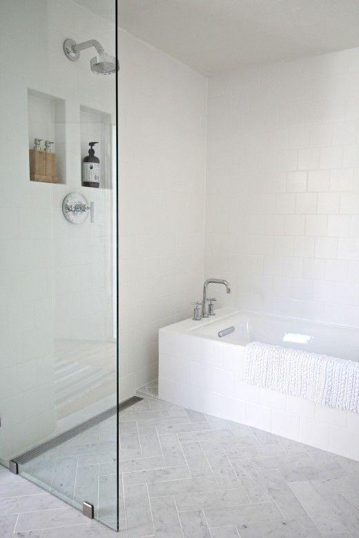 S&D Kohler undercount tub w/ Kohler purist cross bar faucet for tub& shower. Designed by Kirsten Grove of Simply Grove: