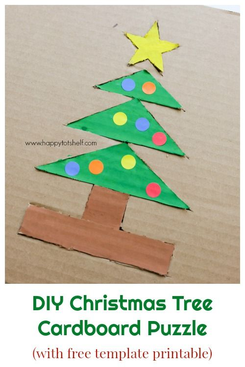 Christmas Tree Cardboard Puzzle Happy Tot Shelf Cardboard Puzzle Diy Learning Toys Christmas Crafts For Kids