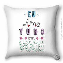 CAPA DE ALMOFADA HAUS FOR FUN AMO TUDO EM VOCE 40X40