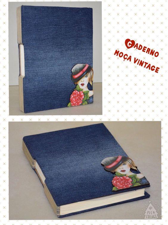 Caderno moça vintage (jeans)