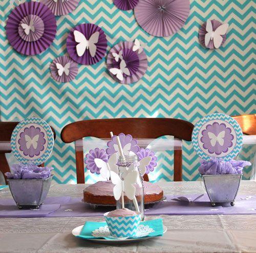 purple blue butterfly meadow spring party chevron pattern backdrop