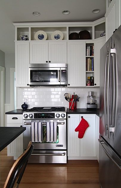 open cabinetry & trim added above existing cabinets to ...
