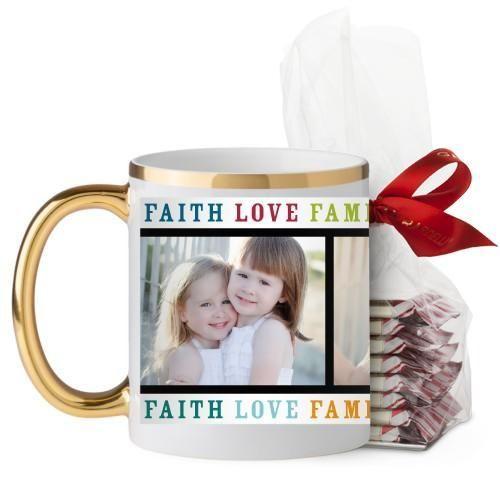 Faith Love Family Mug, Gold Handle, with Ghirardelli Peppermint Bark, 11 oz