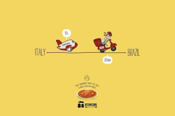 """The quicker way to get a real Italian pizza"" | Agence :  Sniper, São Luís, Brésil pour Internacional Pizzeria Delivery (juin 2015)"