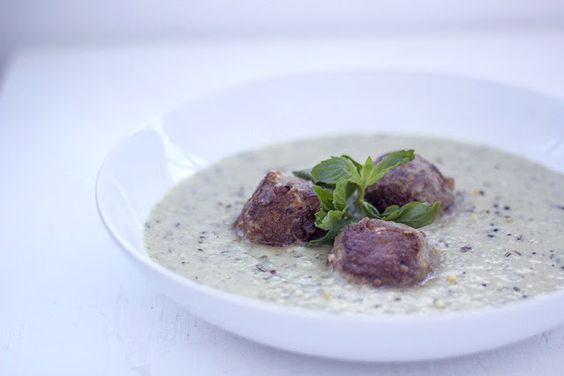 Fennel-Mint Soup with lamb.