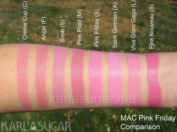 MAC, swatches, Creme Cup, Angel, Snob, Pink Plaid, Pink Friday, Saint Germain, Viva Glam Gaga, Pink Nouveau, KarlaSugar, Karla Sugar