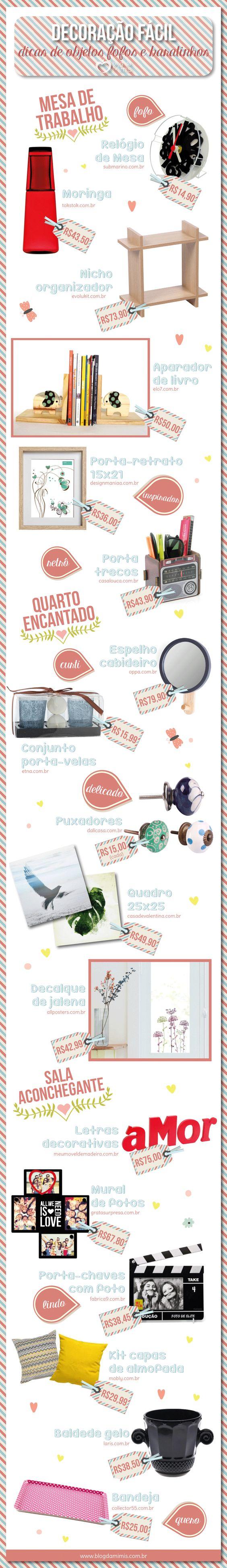 Decoração fácil: dicas de objetos fofos e baratinhos - Blog da Mimis - Listei vários objetos e os sites onde encontrá-los para decorar a casa com amor e economia!