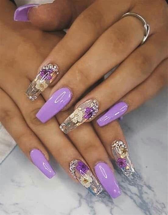 Spring Nails Summer Nails Purple Nails Nail Designs Cute Acrylic Nails