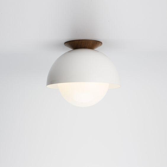 Flush Dome White Ceiling Light With Ealnut Trim. Mid