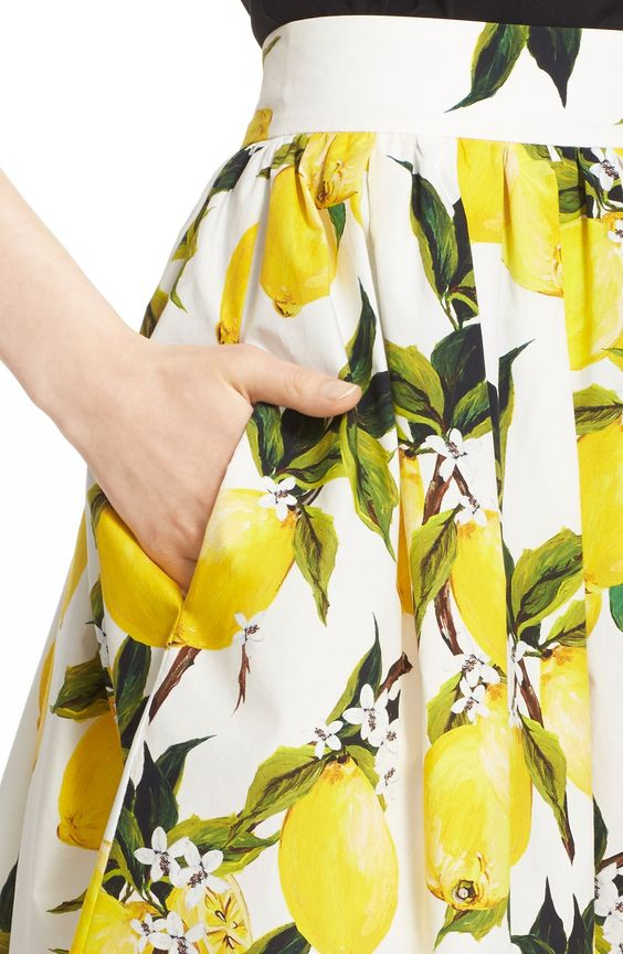 Dolce&Gabbana Lemon Print Cotton Poplin Skirt