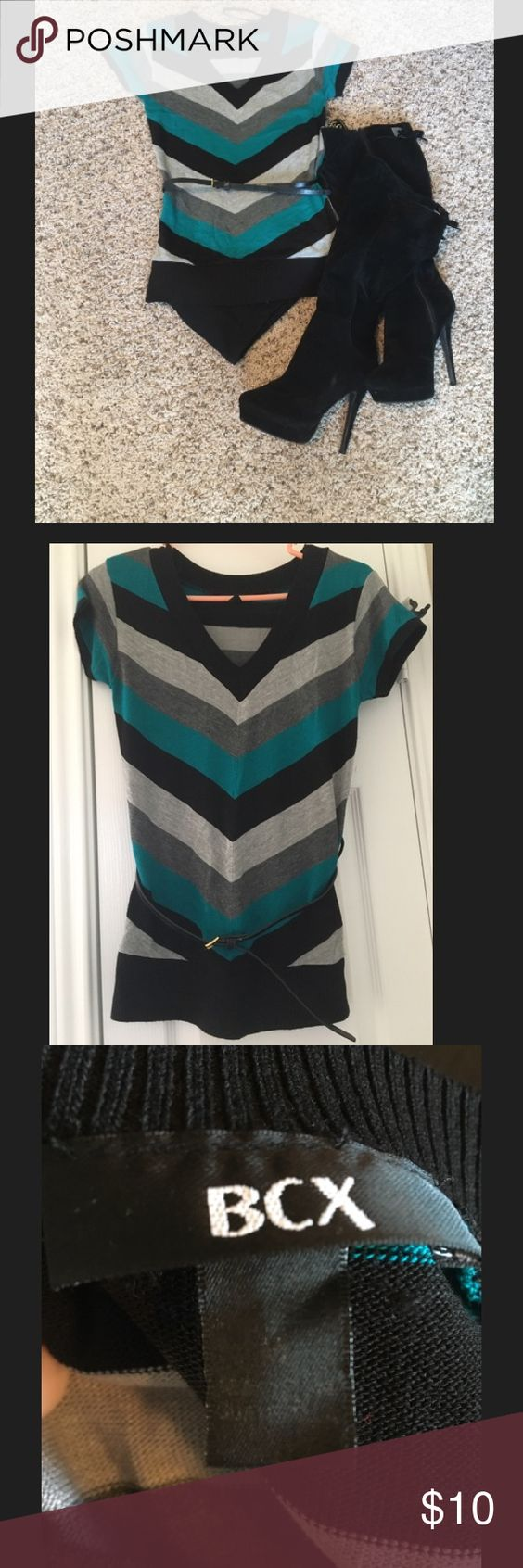 Short sleeve sweater Gently worn. Belt is not original to sweater. Teal, grey & black striped. Size M BCX Tops