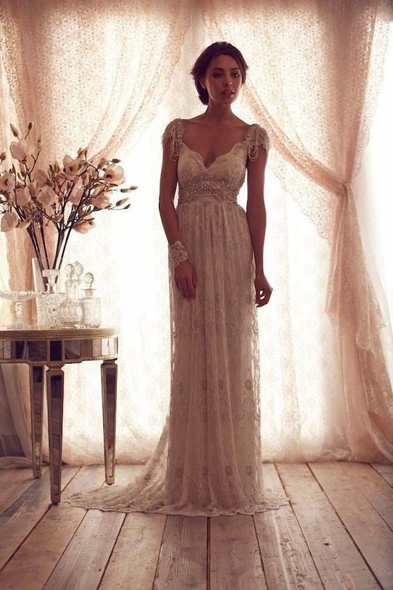 2014 Vintage White Ivory Lace Bridal Dresses Bead V Neck Cap ...