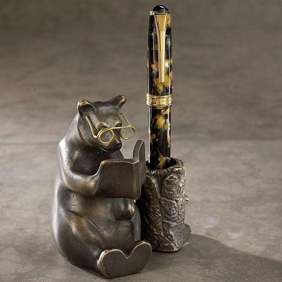 Bronze Reading Bear Pen Stand - Pen Stand - Levenger: