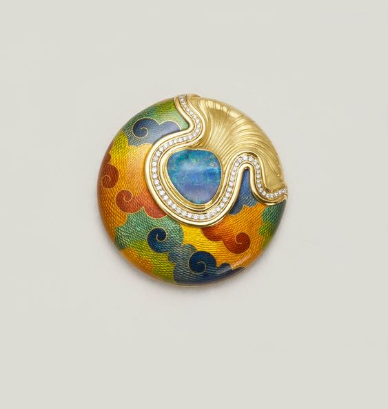 De Vroomen Jewelry. Vitreous enamel on hand engraved gold with diamonds and an opal.